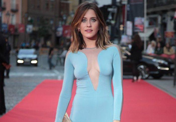 María León Vestido Sexy Azul