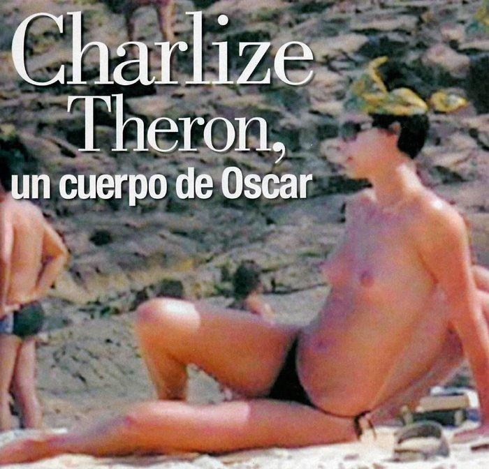 Charlize Theron pillada topless playa