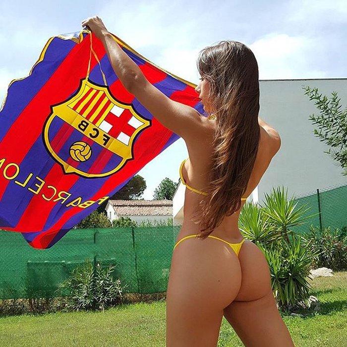 Judit Benavente animando al FC Barcelona