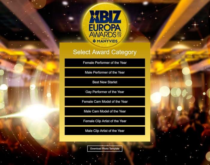 Categorías premios XBIZ Europa Awards 2019