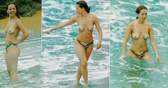 María Adánez Pillada Topless Playa 5