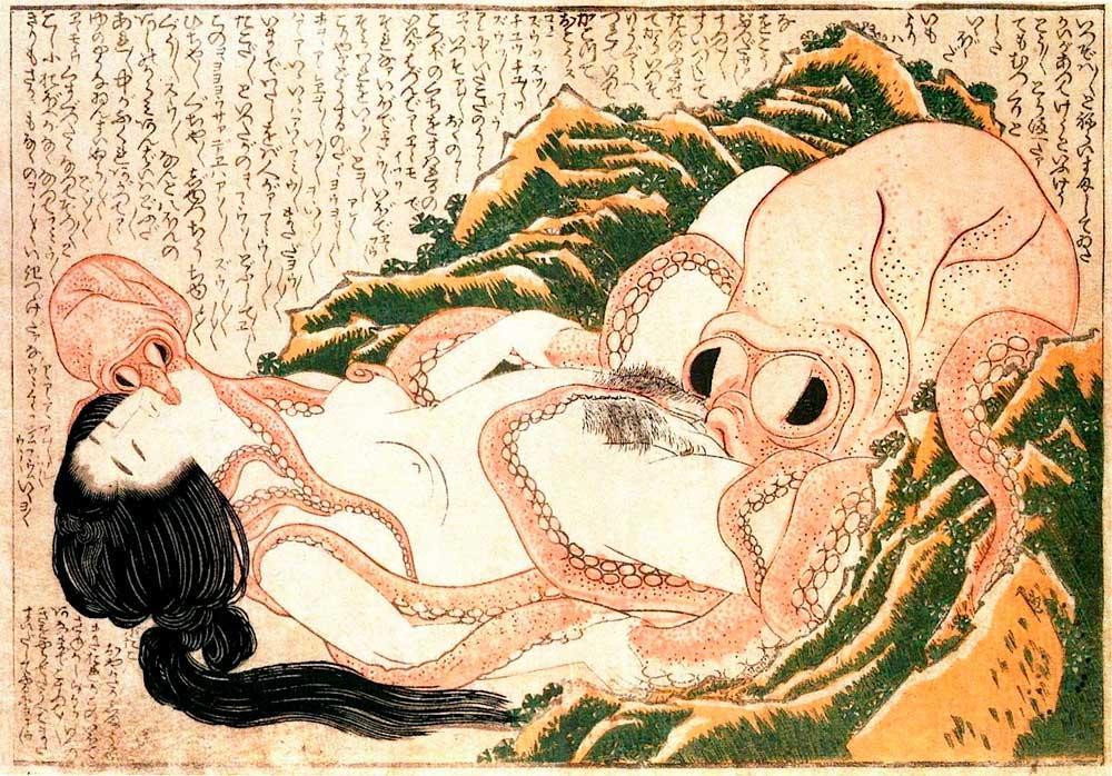 Sueño Esposa Pescador Hokusai Erótica Shunga Japonesa