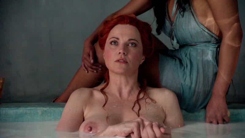 Lucy Lawless Pelirroja Pezones Serie Spartacus